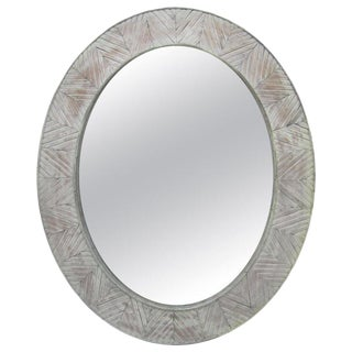 Large Mirror With Weathered Wood Frame For Sale