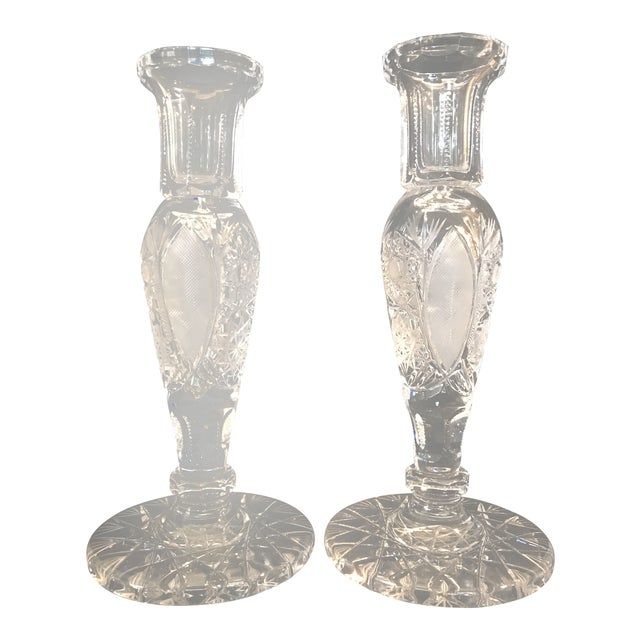 Vintage Large Cut Crystal Candlesticks - a Pair For Sale