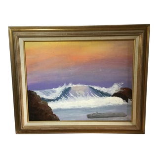 1970s Vintage Acrylic on Canvas Seascape Painting For Sale