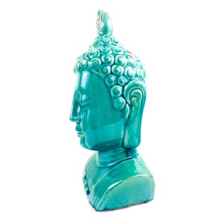 Large Buddha Bust Glaze Sculpture Turquoise Color Preview