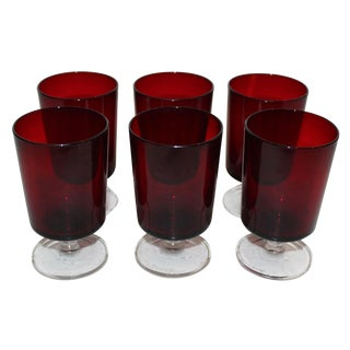 Red Arcoroc Goblets - Set of 6