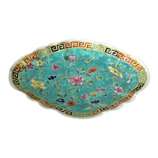 Antique Chinese Turquoise Compote For Sale