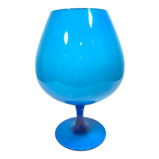 Vintage Empoli Blue Brandy Balloon For Sale