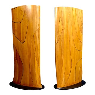 One of a Kind Wood Aviation Wings on Metal Base - a Pair For Sale