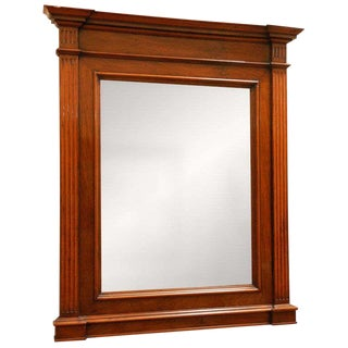 Handsome Neoclassical Walnut Framed Wall Mirror From Late 19th Century France For Sale