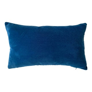 FirmaMenta Italian Peacock Blue Velvet Lumbar Pillow For Sale