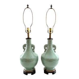 Vintage Frederick Cooper Celadon Glaze Elephant Head Lamps - a Pair For Sale