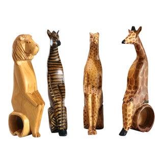 Safari Animal Hand Carved Wood Napkin Holders - Set of 4 For Sale
