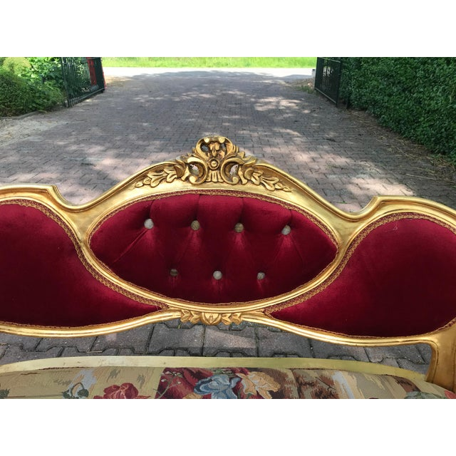 French French Gobelin With Burgundy/Red Velvet Louis XVI Style Sofa For Sale - Image 3 of 7
