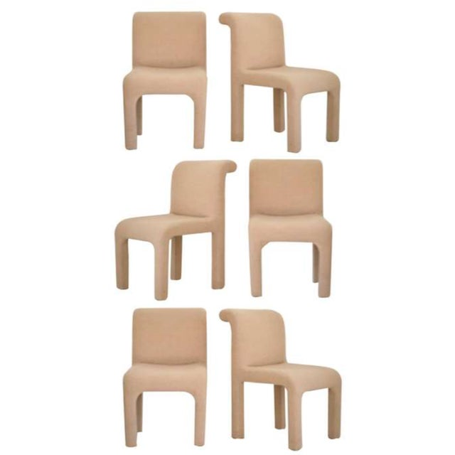 Beige 1980s Allover Upholstered Dining Chairs - Set of 6 For Sale - Image 8 of 8