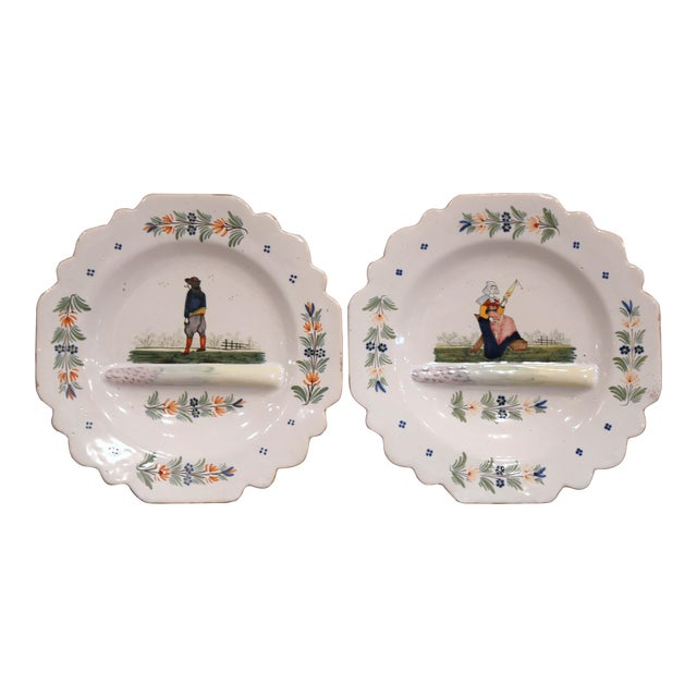 Late 19th Century French Hand-Painted Faience Decorative Dishes Signed Hb For Sale