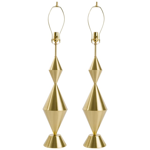 Pair of Fashioned by Hand Conical Brass Lamps For Sale