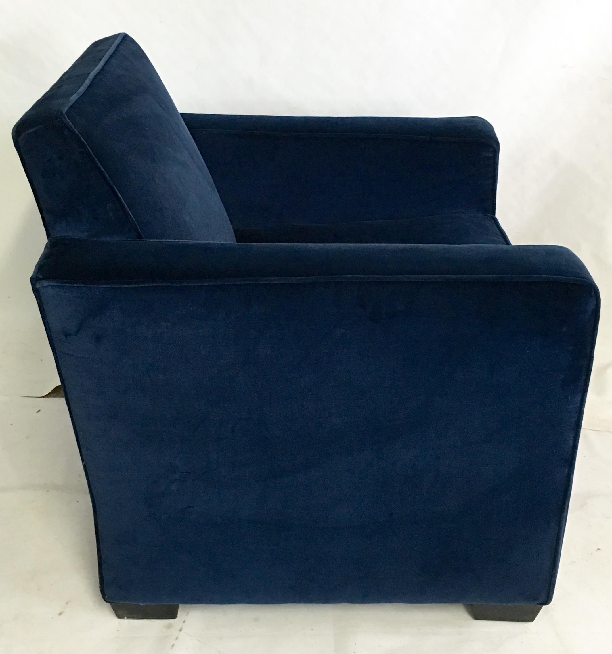Ralph Lauren Art Deco Style Blue Velvet Club Chair   Image 4 Of 8