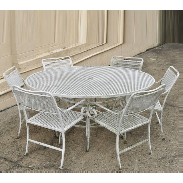 Late 20th Century Vintage Cast Aluminum Scroll Arm Metal Patio Dining Table & Chairs - Set of 7 For Sale - Image 13 of 13