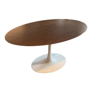 Langley Street Larkson Knoll Saarinen-Inspired Walnut-Topped Oval Dining Table For Sale