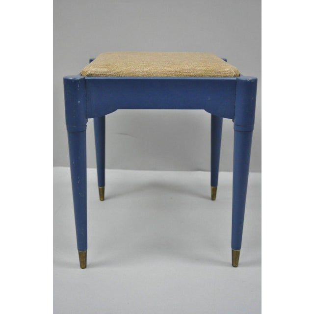 Vintage Mid-Century Modern Danish Style Blue Painted Piano Bench With Sewing Storage For Sale - Image 9 of 11