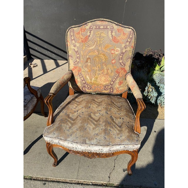 19th Century French Walnut Petite Point Neelde Point Arm Chairs- A Pair For Sale - Image 10 of 12