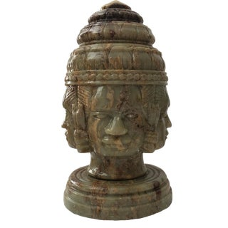 1900s Vintage Carved Hard Stone Southeast Asian Head Sculpture For Sale