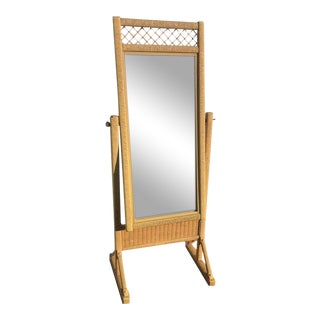 Henry Link Vintage Wicker Bedroom Mirror With Stand For Sale