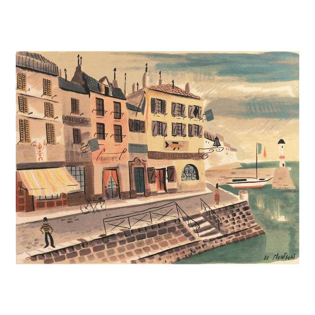'Breton Village With Lighthouse' by Charles De Montfort, Mid-Century French Post-Impressionist For Sale