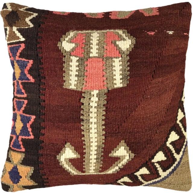 "Mid-Century Modern Bold Boho Kilim Pillow | 20"" For Sale - Image 3 of 3"