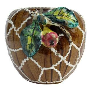Vintage Italian Faux Bois Majolica With Fruit Terracotta Pottery Vase For Sale