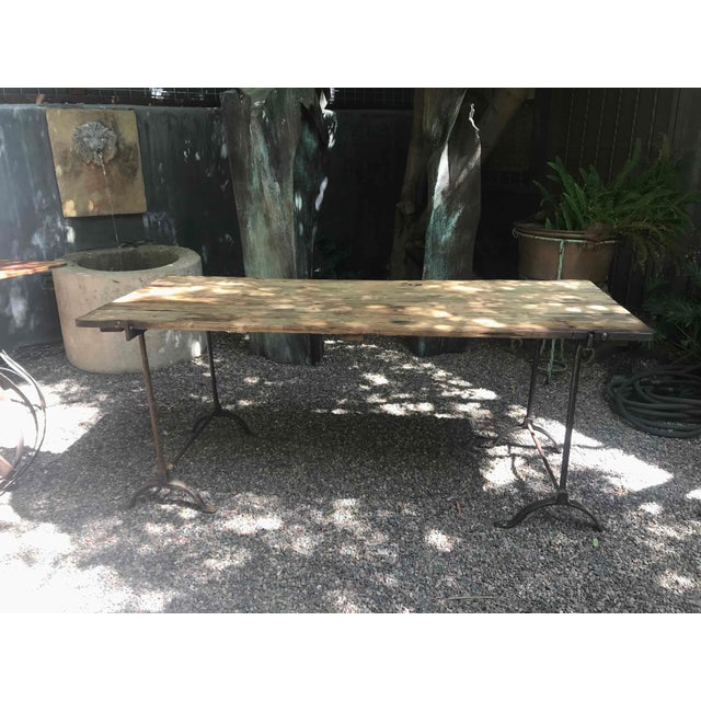 Mid 19th Century 1850s England Trestle Table With Iron Legs and Oakwood Top For Sale - Image 5 of 9