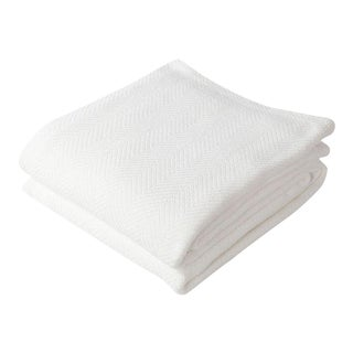 Contemporary Herringbone Blanket Bright White Full/Queen Blanket For Sale