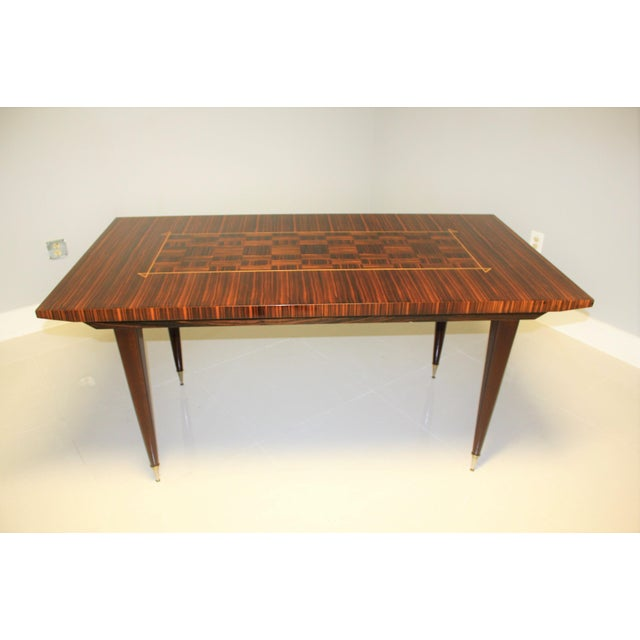 1940s Art Deco Exotic Macassar Ebony Writing Desk/Dining Table For Sale - Image 4 of 13