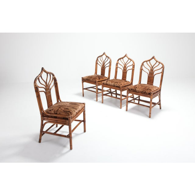 Regency Set of Italian Bamboo Dining Chairs With Floral Cushions For Sale - Image 10 of 13