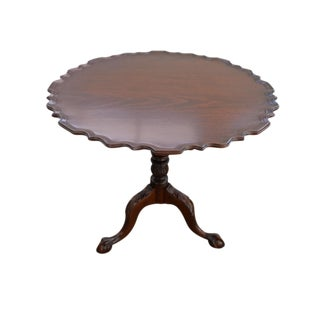 Vintage Pie Crust Swivel Tea Table For Sale