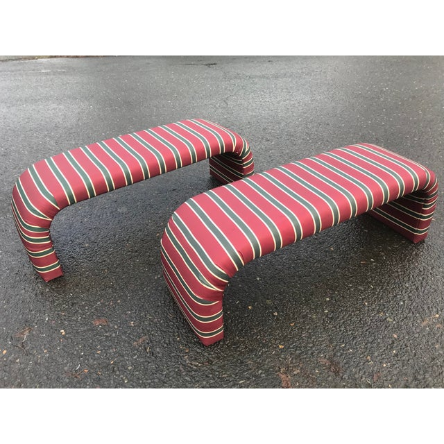 1980s Striped Upholstered Waterfall Benches -A Pair - Image 2 of 8