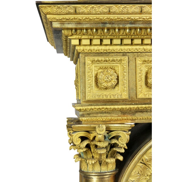 Early 19th Century French Empire Bronze Mantle Clock For Sale - Image 5 of 12