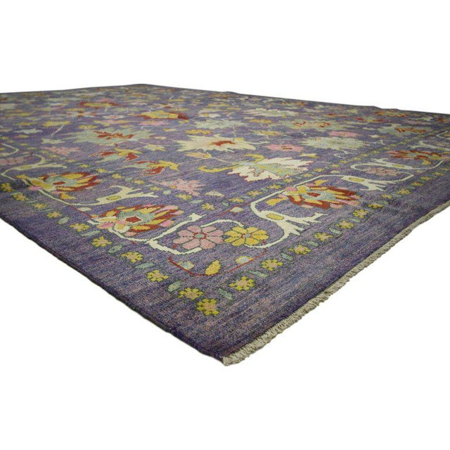 60657 Colorful Turkish Purple Oushak Rug with Modern Contemporary Venetian Style 11'04 x 15'06. This hand knotted wool...