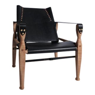 Bespoke Black Leather Safari Lounge Chair