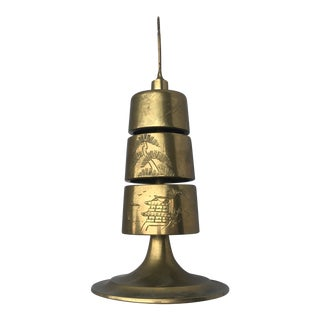 1970s Asian Brass Three Bell Chime With Rooster