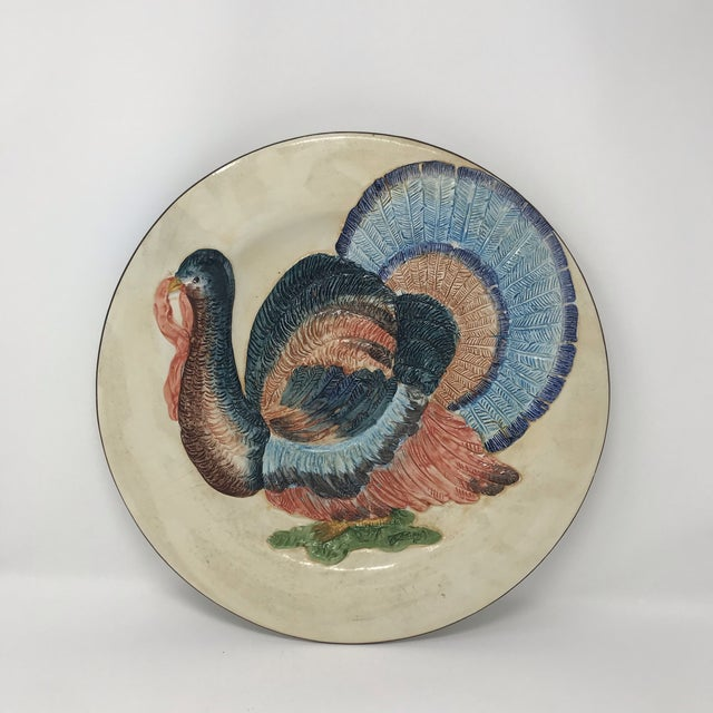 Thanksgiving Decor Spanish Traditional Hand Painted Majolica Turkey Concave Decorative Plate For Sale - Image 12 of 12