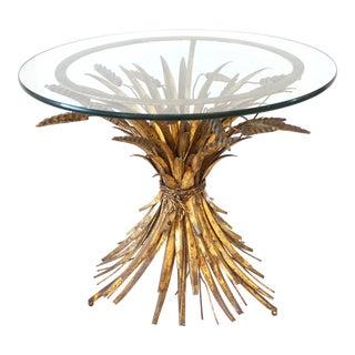 1950s Italian Gilt Tole Wheat Side Table For Sale