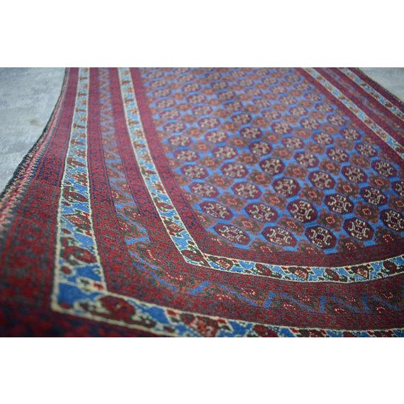 Traditional Traditional Bokhara Hand-Knotted Raspberry Red and Sky Blue Wool Rug For Sale - Image 3 of 6