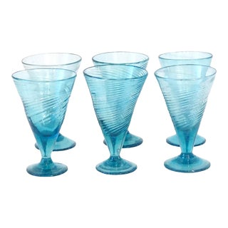 1800s Rare Turquoise Blue Seed Glass Twist Footed Glasses - Set of 7 For Sale