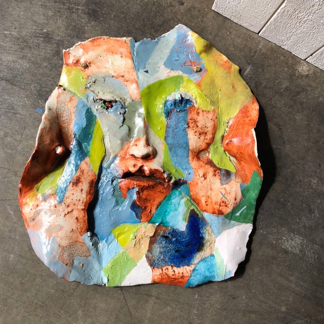 Artist Made Abstract Face Wall Sculpture For Sale - Image 4 of 4