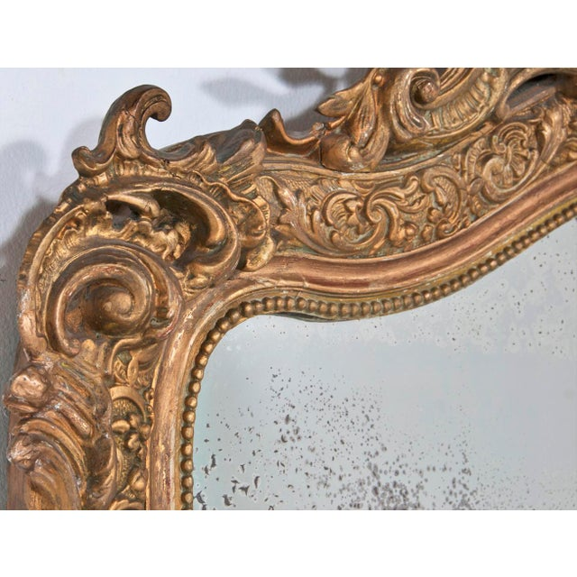 1860 Italian Gilt Wood & Gesso Mirror For Sale - Image 5 of 6