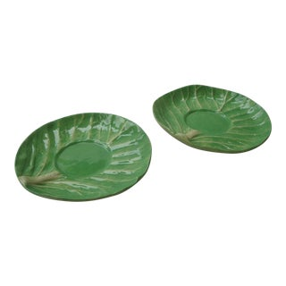 2 Dodie Thayer Cabbageware Lettuce Leaf Saucers For Sale