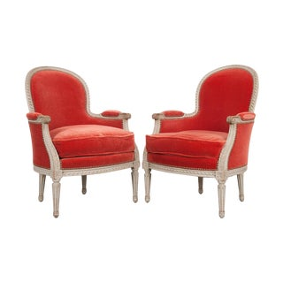 Pair of French 19th Century Louis XVI-Style Bergères For Sale