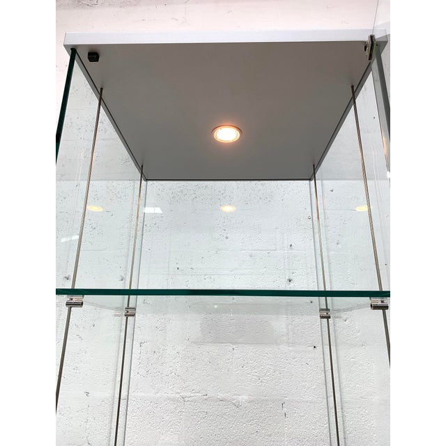 Contemporary Glass Curio / Vitrine With Spot Lamp For Sale - Image 11 of 13