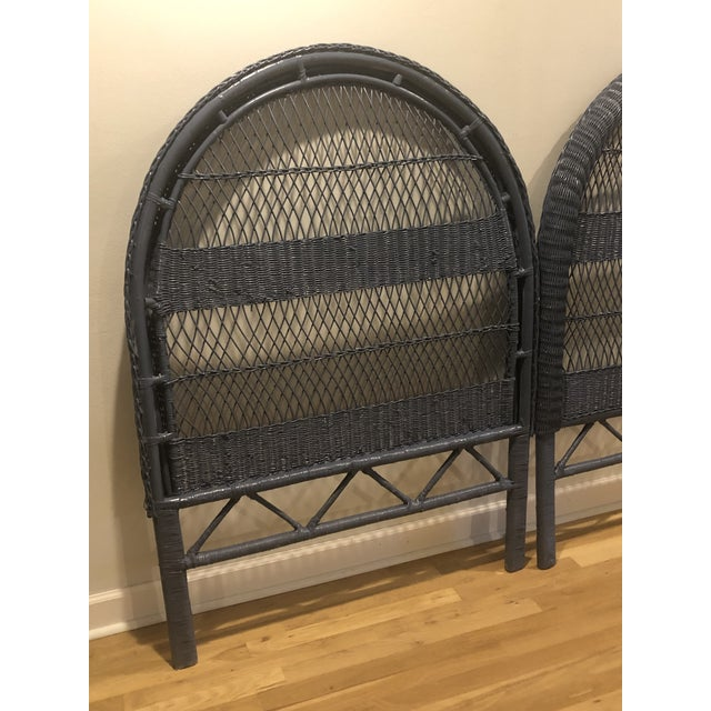 Wicker Vintage French Blue Wicker Twin Headboards - a Pair For Sale - Image 7 of 11