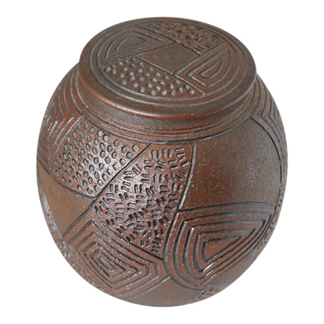 1980s J Chin Incised Pottery Jar For Sale