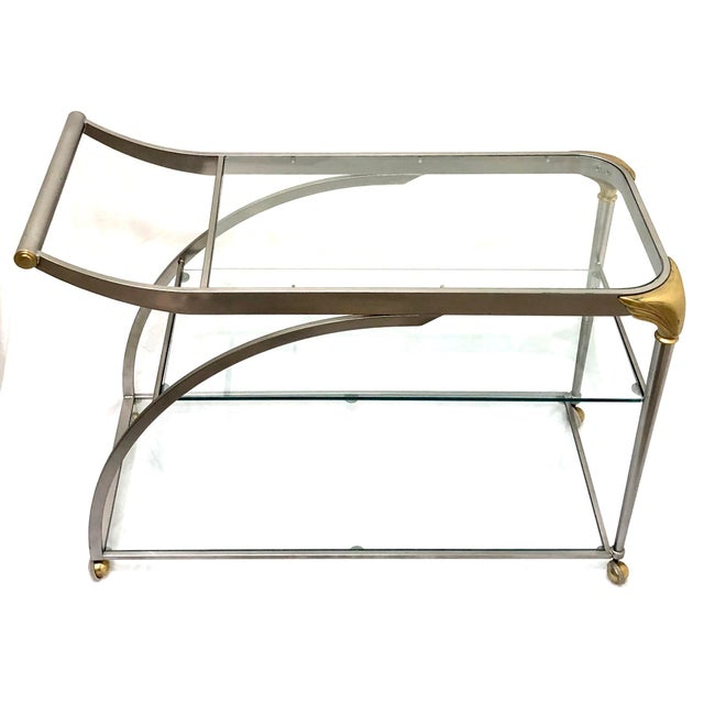 Art Nouveau 20th Century Hollywood Regency Steamline Bar Cart For Sale - Image 3 of 12