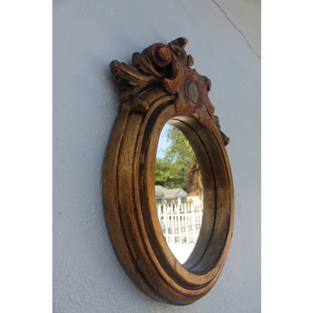 Antique Hand Carved Solid Wood Wall Mirror - Image 3 of 8