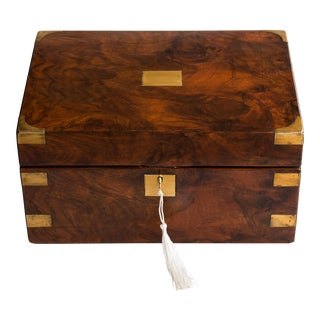 Antique 19th Century English Walnut & Brass Box, Lock & Key For Sale